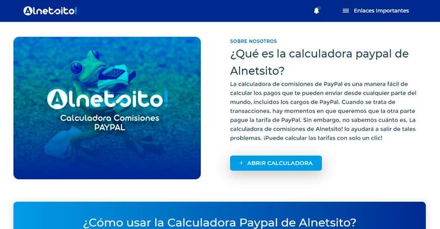 Alnetsito, herramienta de comisiones paypal