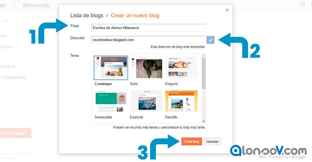 paso 2 para crear un blog