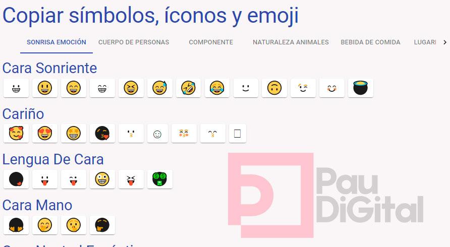 simbolos, emojis e iconos para tus artículos