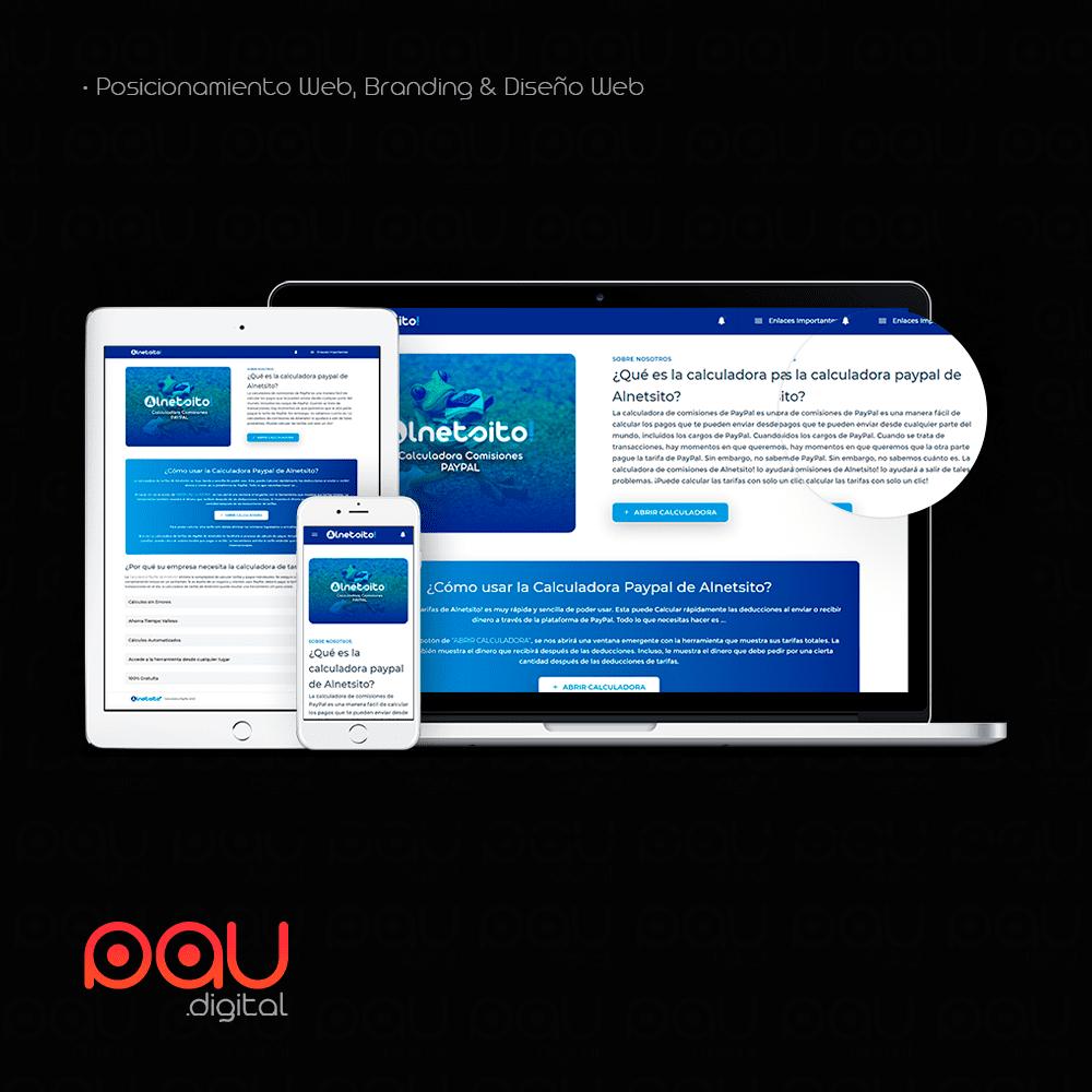 Desarrollo web para SEO para Alnetsio, calculadora PayPal online